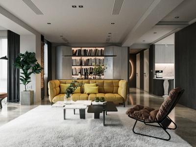 Độc đáo với phòng khách có nội thất màu vàng nổi bật